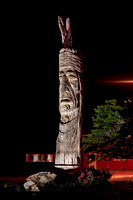 Sculpture of a Native American Head by Peter Toth